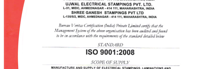 Quality ujwal electrical stampings pvt ltd simple and clean but iso 9001 2008 certification yadclub Gallery