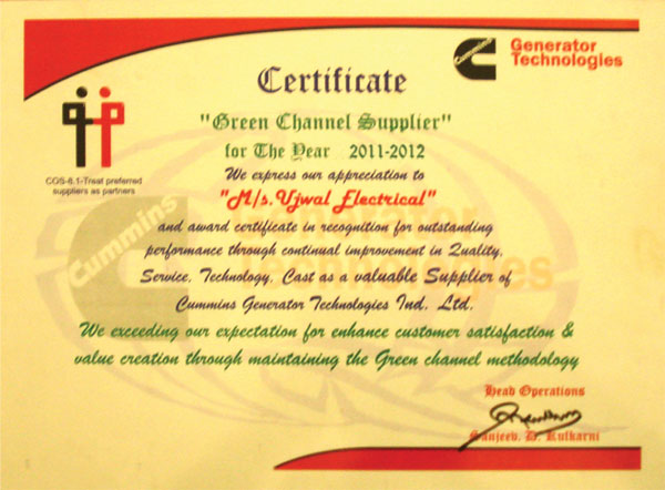 Quality ujwal electrical stampings pvt ltd simple and clean cummins generator certification yadclub Images